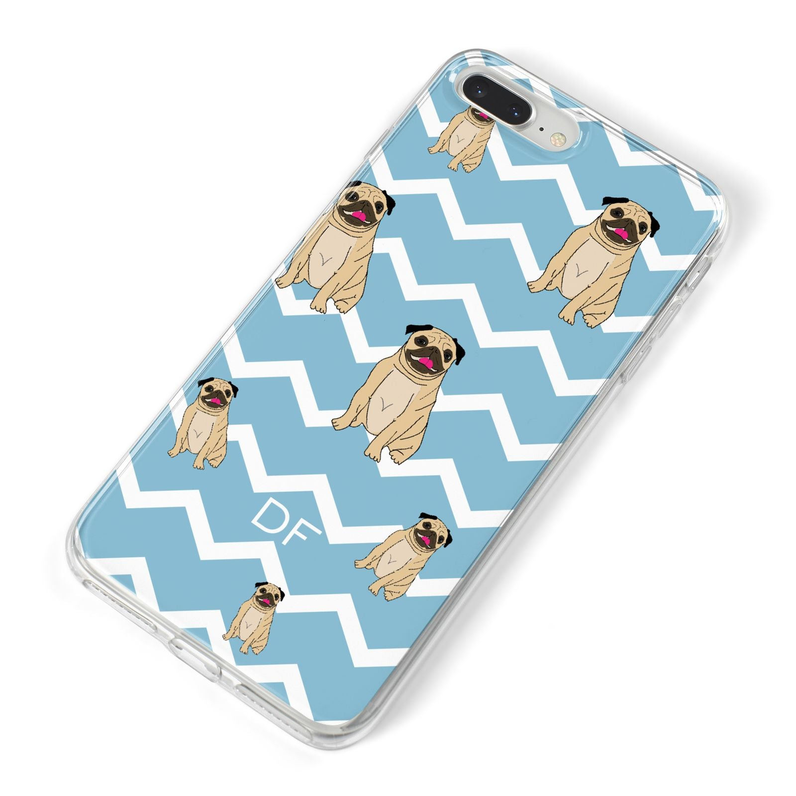 Personalised Pug Initials iPhone 8 Plus Bumper Case on Silver iPhone Alternative Image