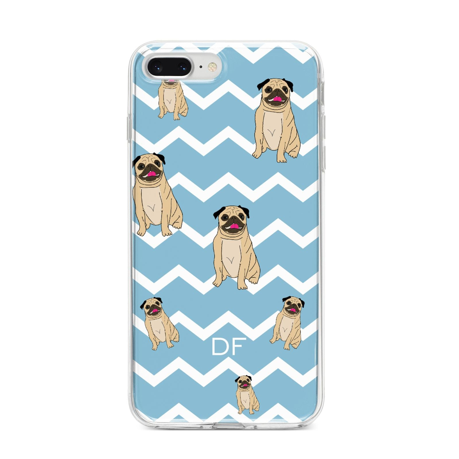 Personalised Pug Initials iPhone 8 Plus Bumper Case on Silver iPhone