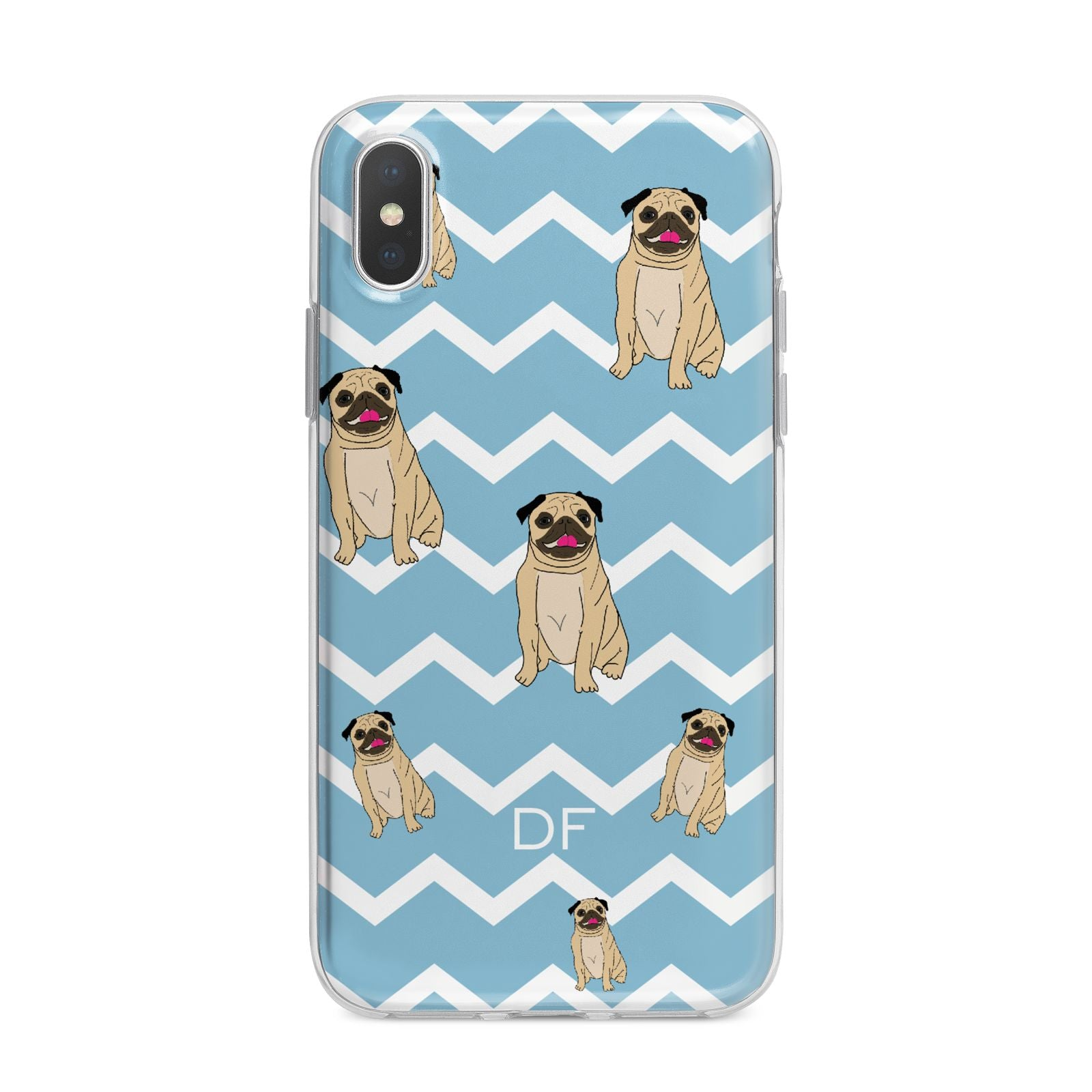 Personalised Pug Initials iPhone X Bumper Case on Silver iPhone Alternative Image 1
