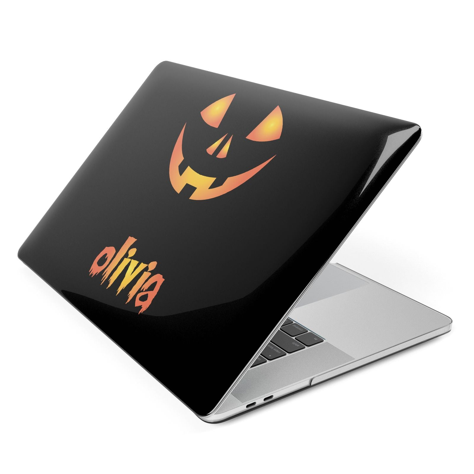 Personalised Pumpkin Face Halloween Apple MacBook Case Side View