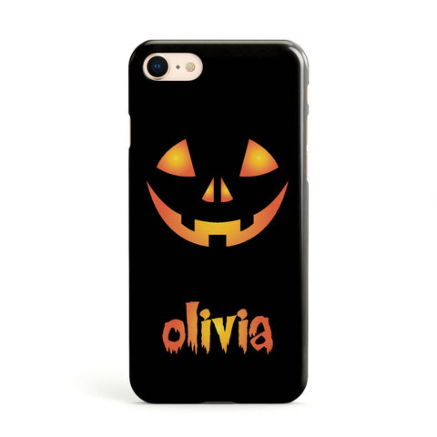 Personalised Pumpkin Face Halloween Apple iPhone Case