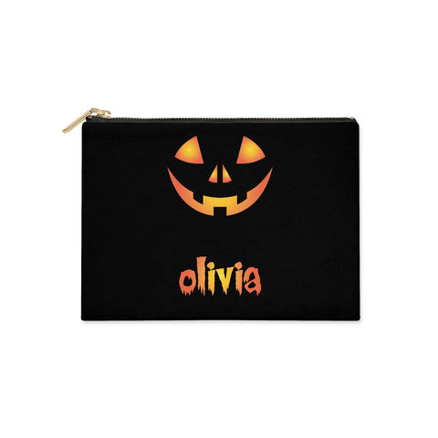 Personalised Pumpkin Face Halloween Clutch Bag