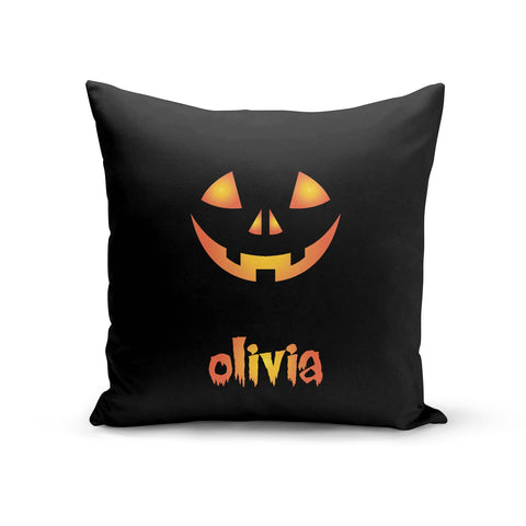 Personalised Pumpkin Face Halloween Cushion