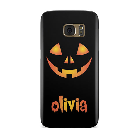 Personalised Pumpkin Face Halloween Samsung Galaxy Case