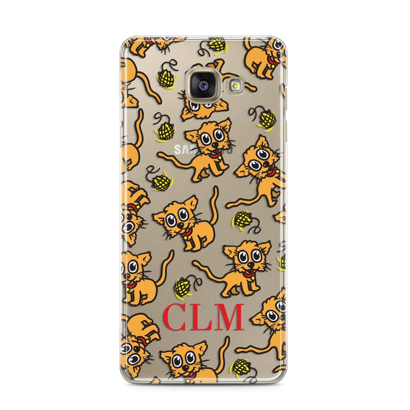 Personalised Puppy Initials Clear Samsung Galaxy A3 2016 Case on gold phone