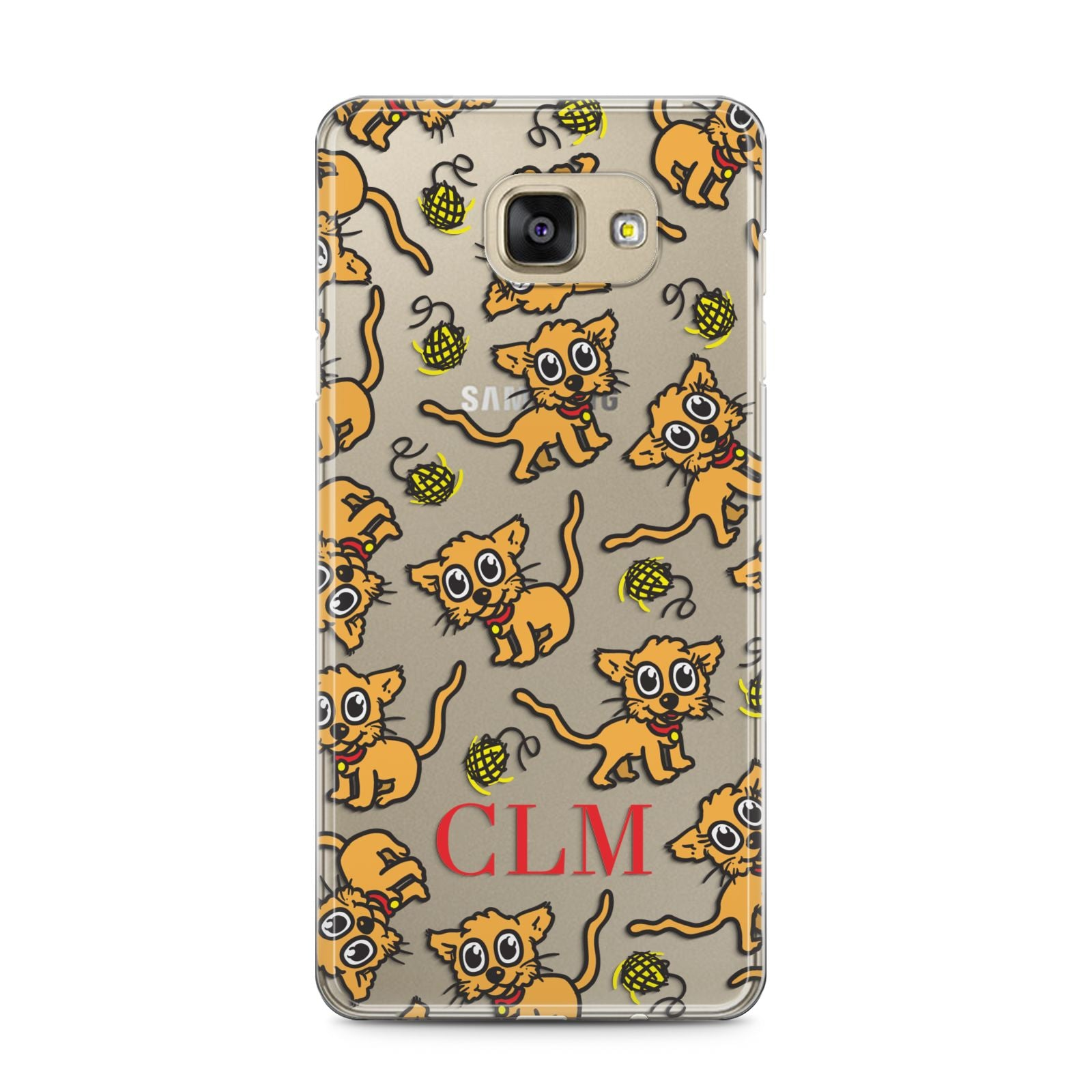 Personalised Puppy Initials Clear Samsung Galaxy A5 2016 Case on gold phone