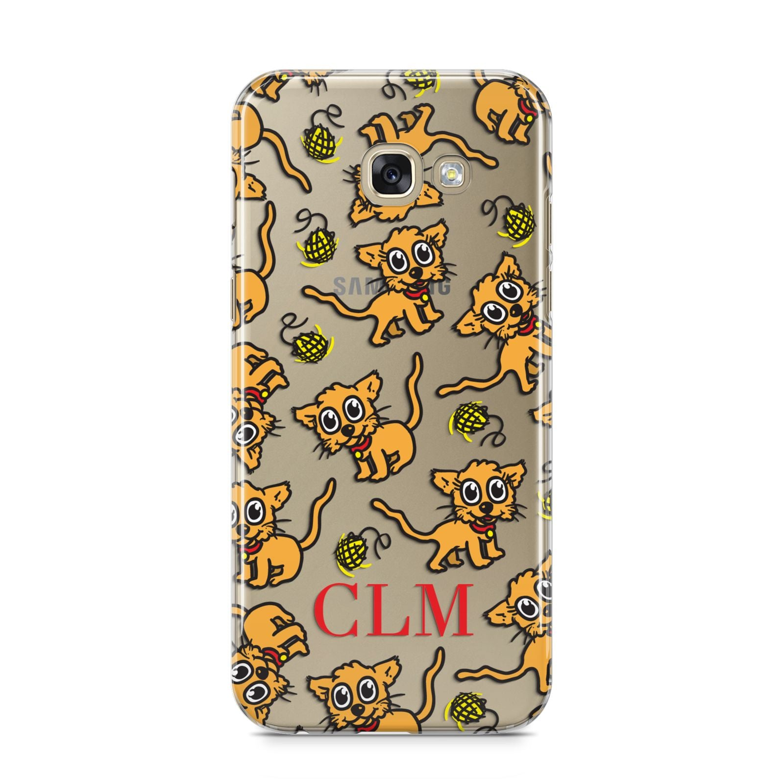 Personalised Puppy Initials Clear Samsung Galaxy A5 2017 Case on gold phone