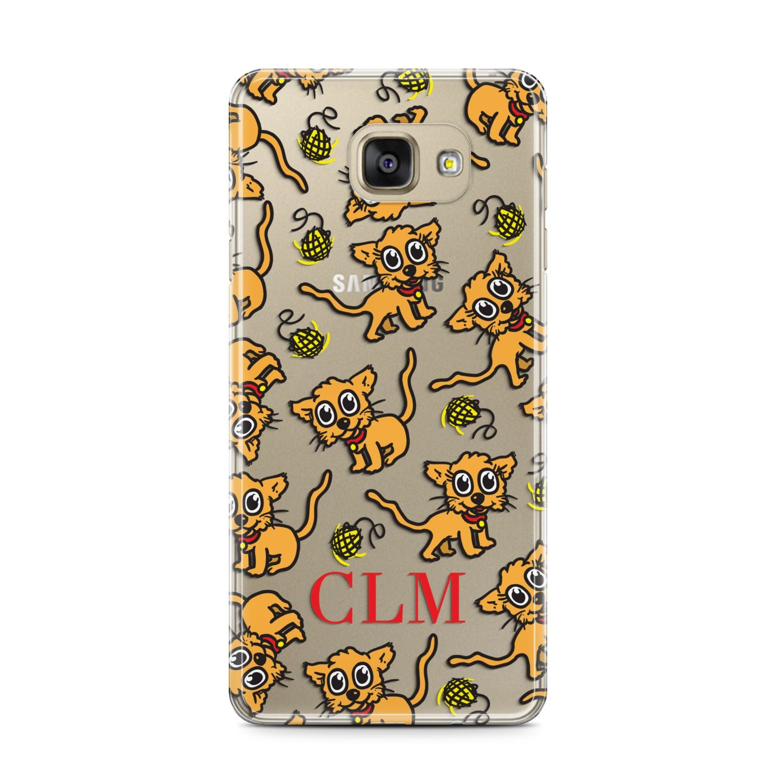 Personalised Puppy Initials Clear Samsung Galaxy A7 2016 Case on gold phone