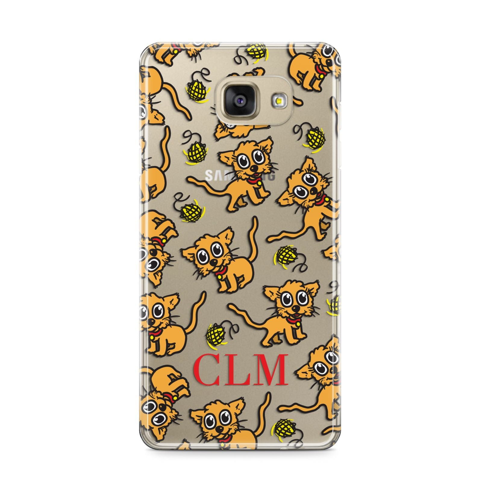 Personalised Puppy Initials Clear Samsung Galaxy A9 2016 Case on gold phone