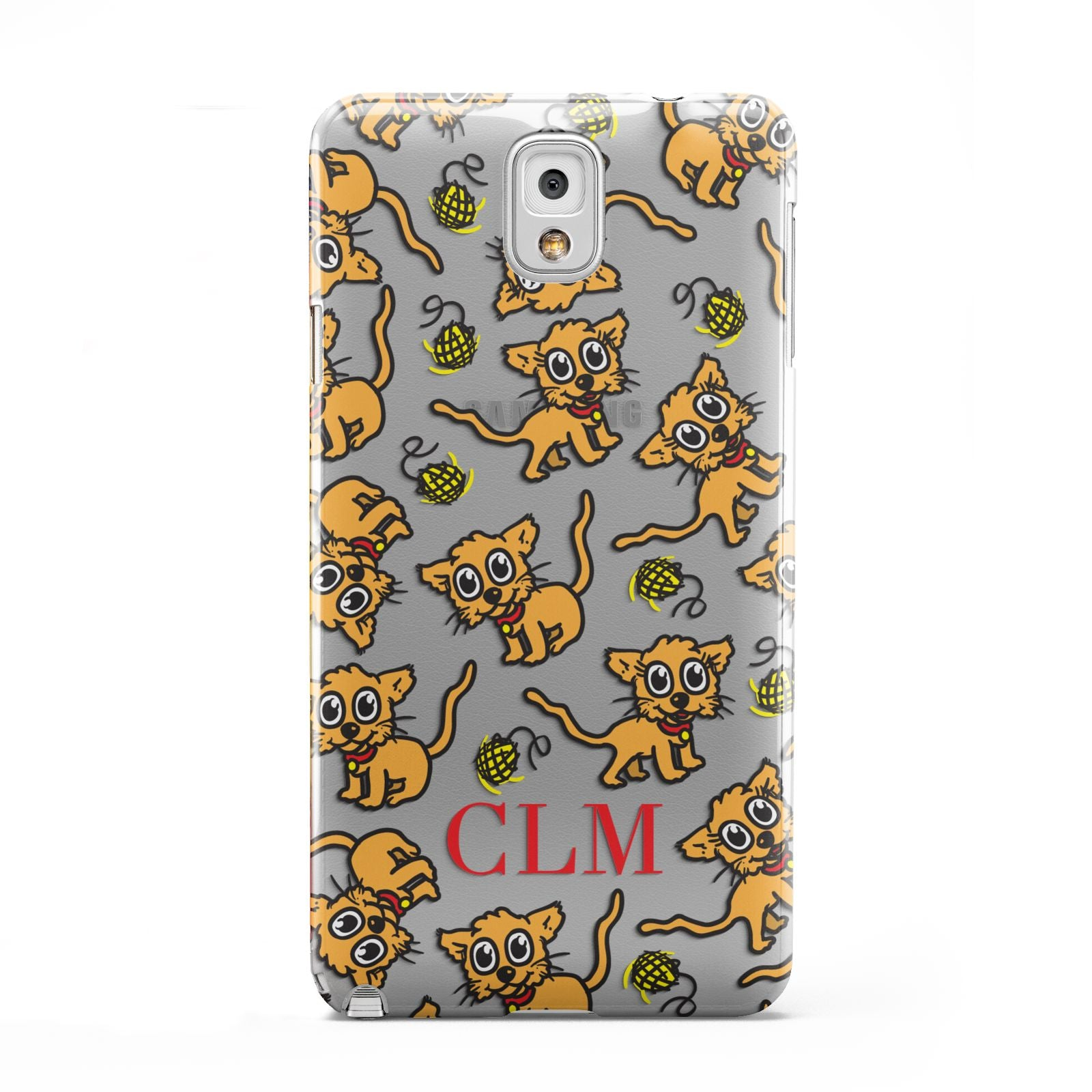 Personalised Puppy Initials Clear Samsung Galaxy Note 3 Case
