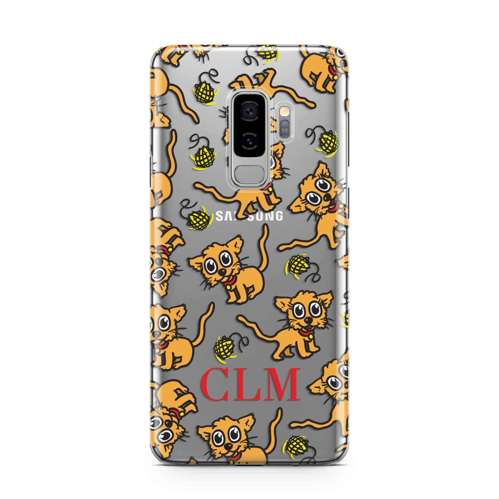 Personalised Puppy Initials Clear Samsung Galaxy S9 Plus Case on Silver phone