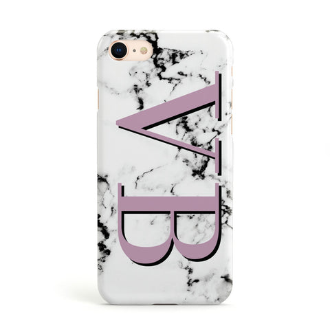 Personalised Purple Big Initials Marble Apple iPhone Case