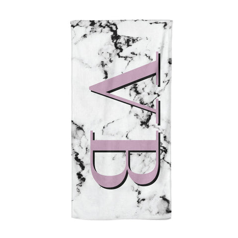Personalised Purple Big Initials Marble Beach Towel