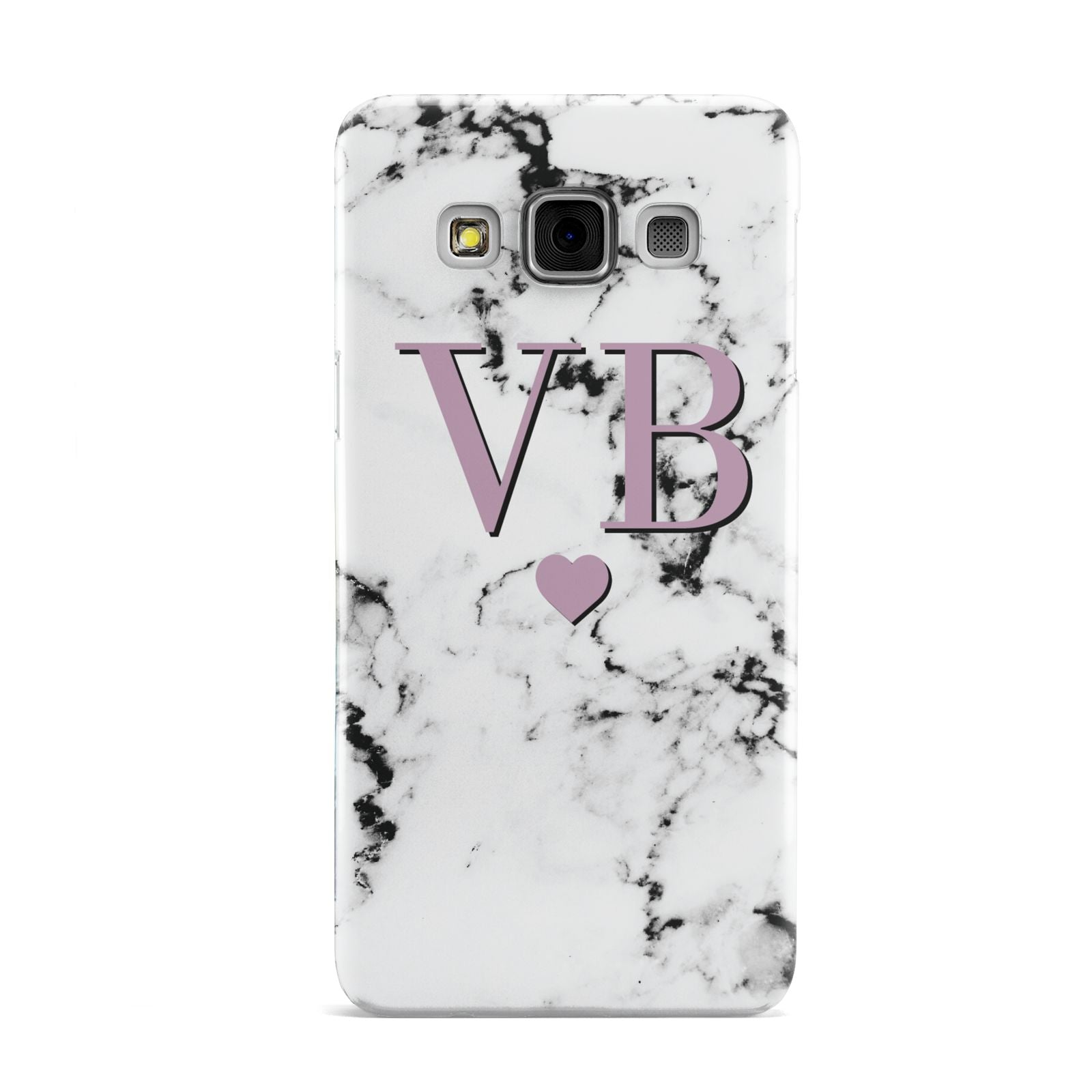 Personalised Purple Initialed Marble Heart Samsung Galaxy A3 Case