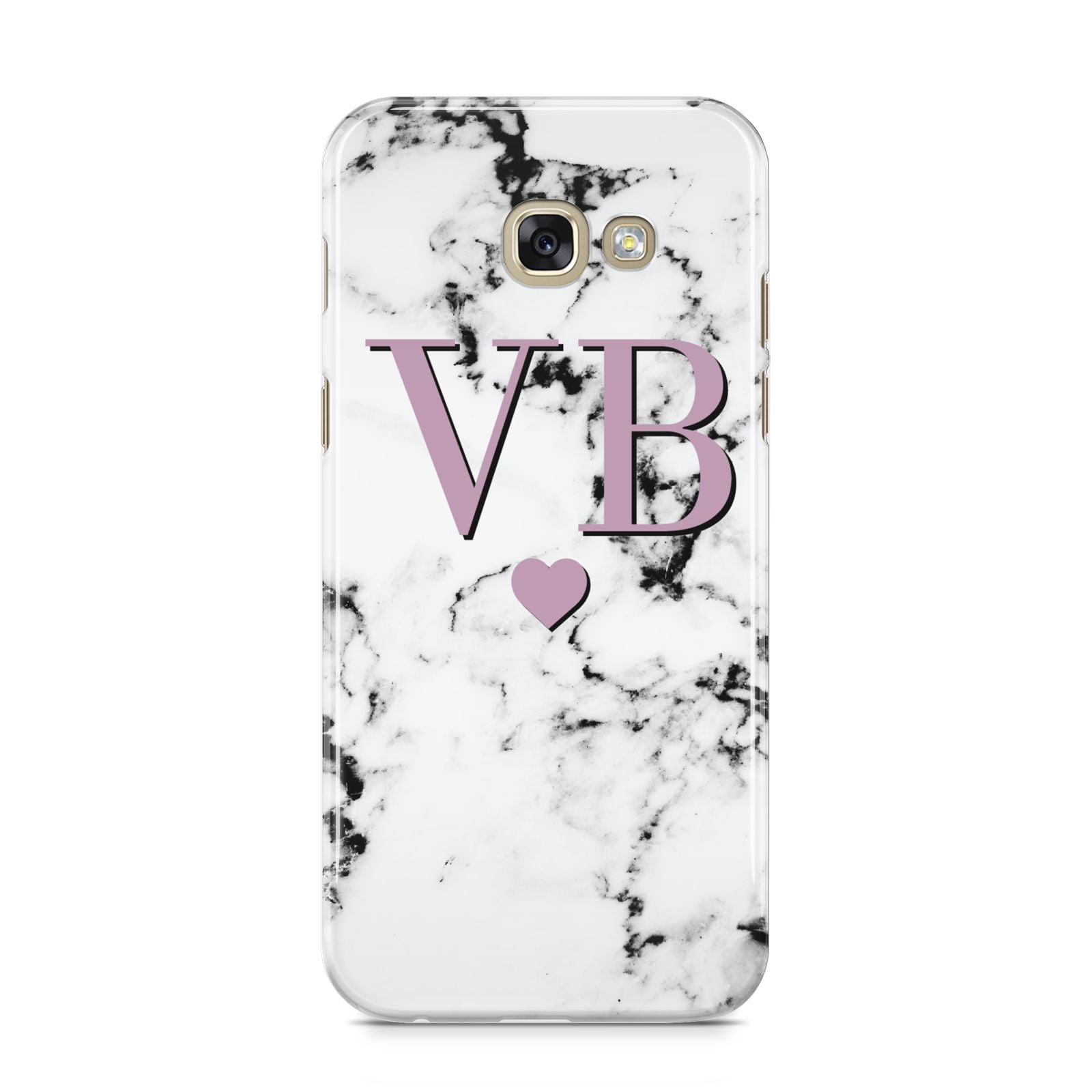 Personalised Purple Initialed Marble Heart Samsung Galaxy A5 2017 Case on gold phone