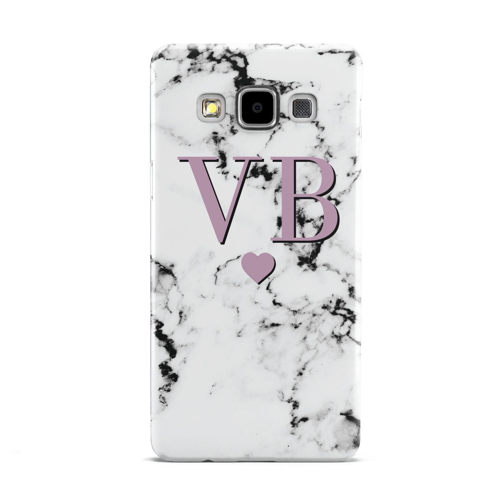 Personalised Purple Initialed Marble Heart Samsung Galaxy A5 Case