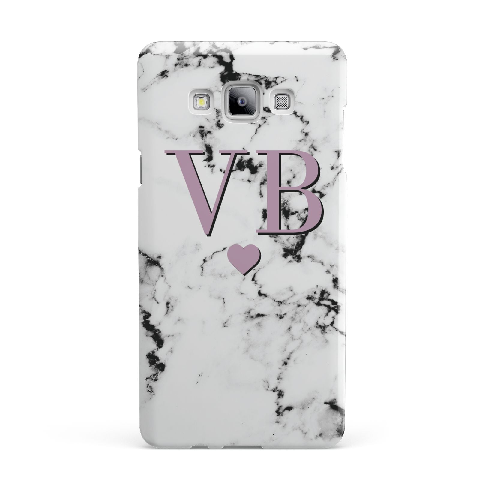 Personalised Purple Initialed Marble Heart Samsung Galaxy A7 2015 Case