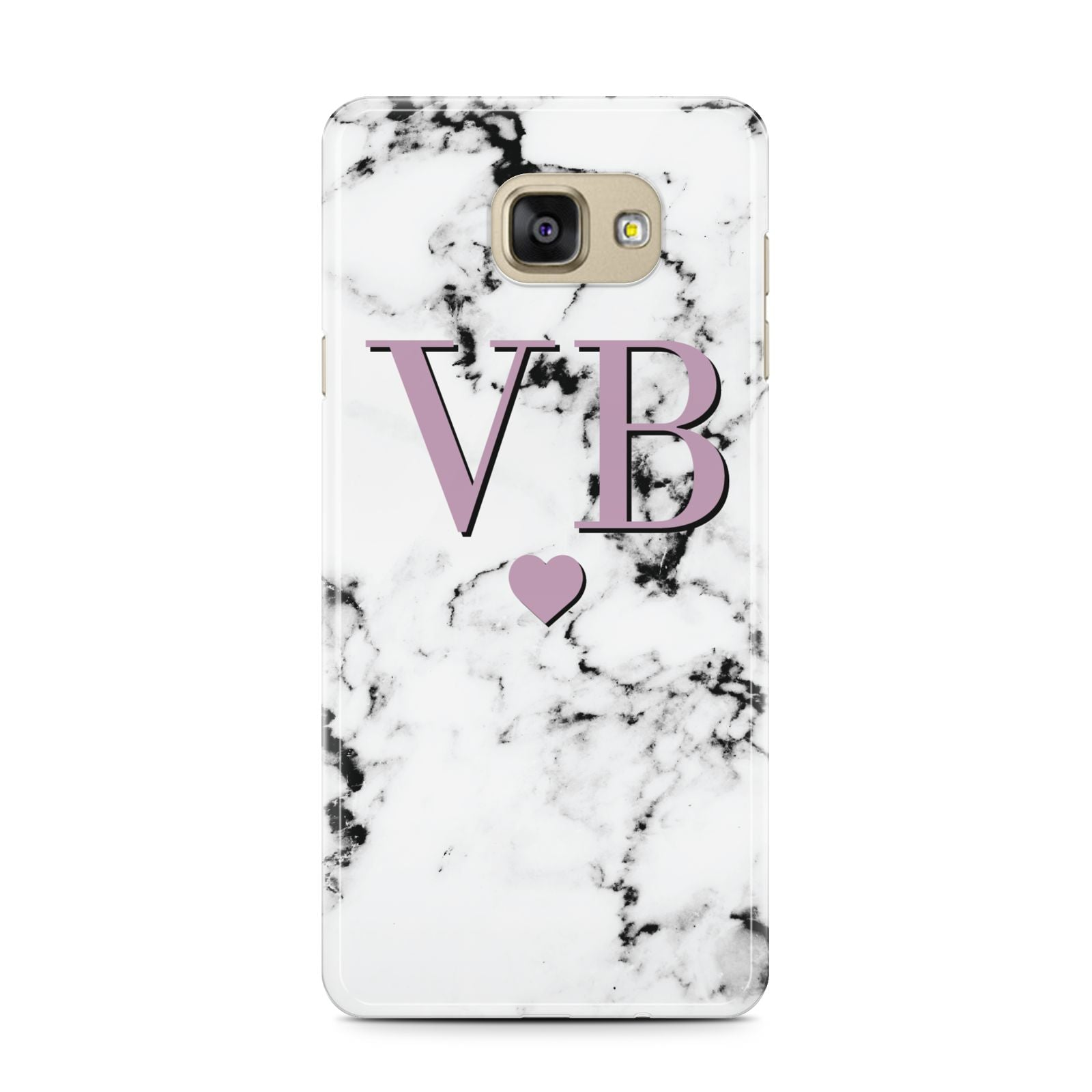 Personalised Purple Initialed Marble Heart Samsung Galaxy A7 2016 Case on gold phone