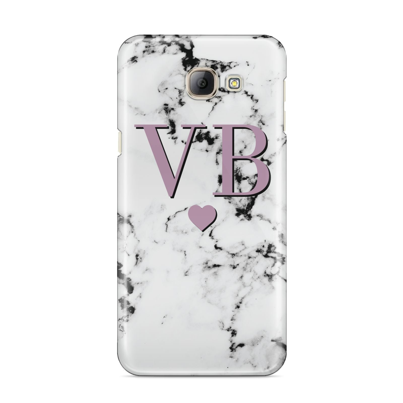 Personalised Purple Initialed Marble Heart Samsung Galaxy A8 2016 Case