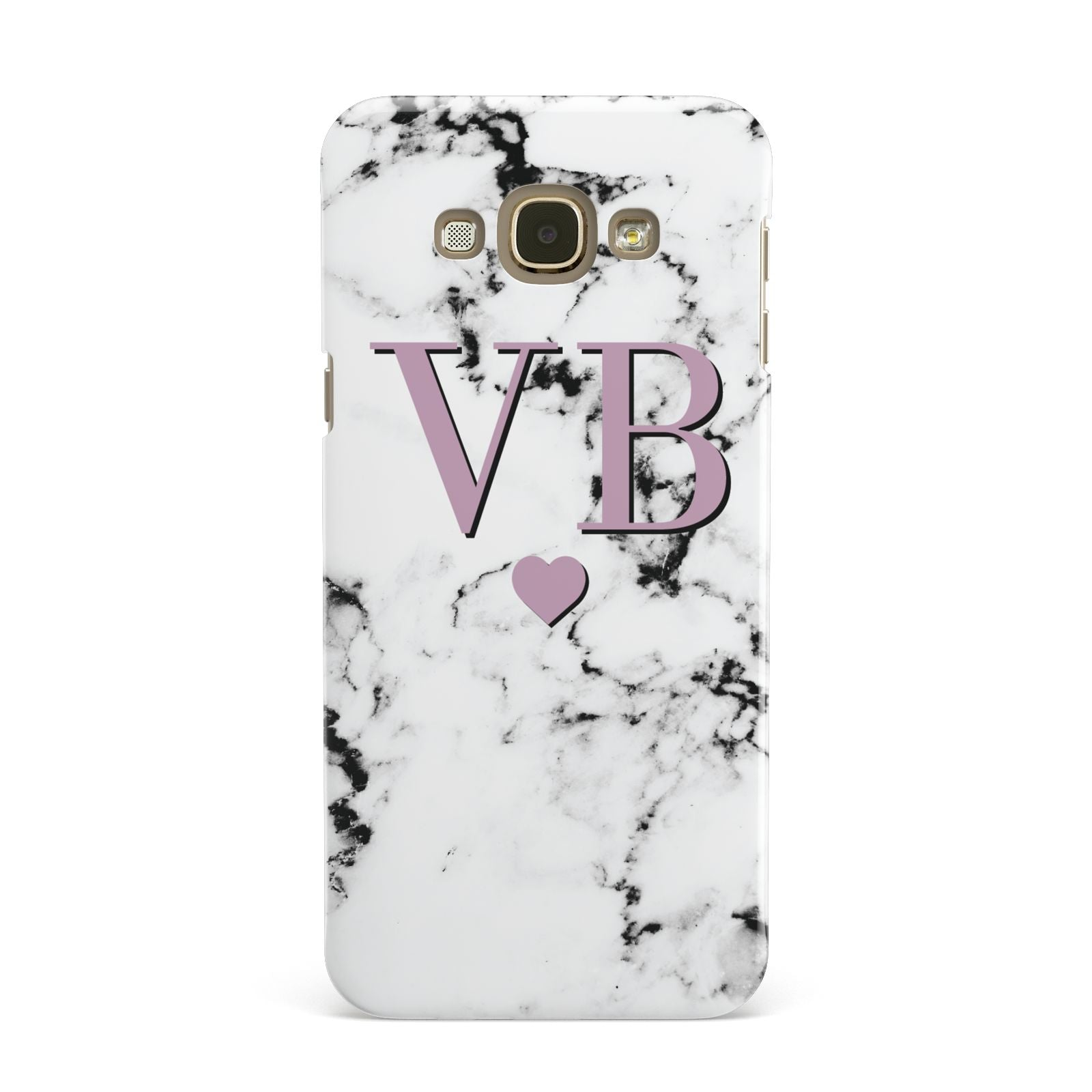 Personalised Purple Initialed Marble Heart Samsung Galaxy A8 Case