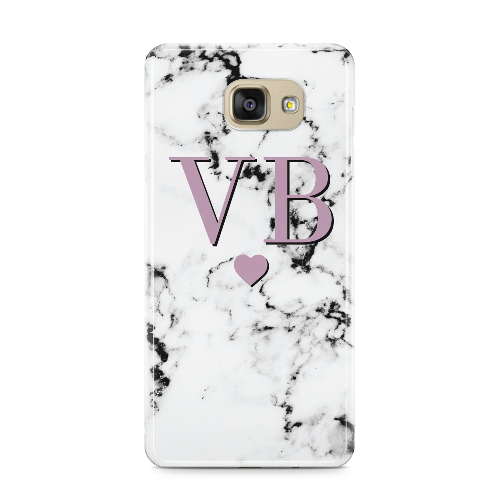 Personalised Purple Initialed Marble Heart Samsung Galaxy A9 2016 Case on gold phone