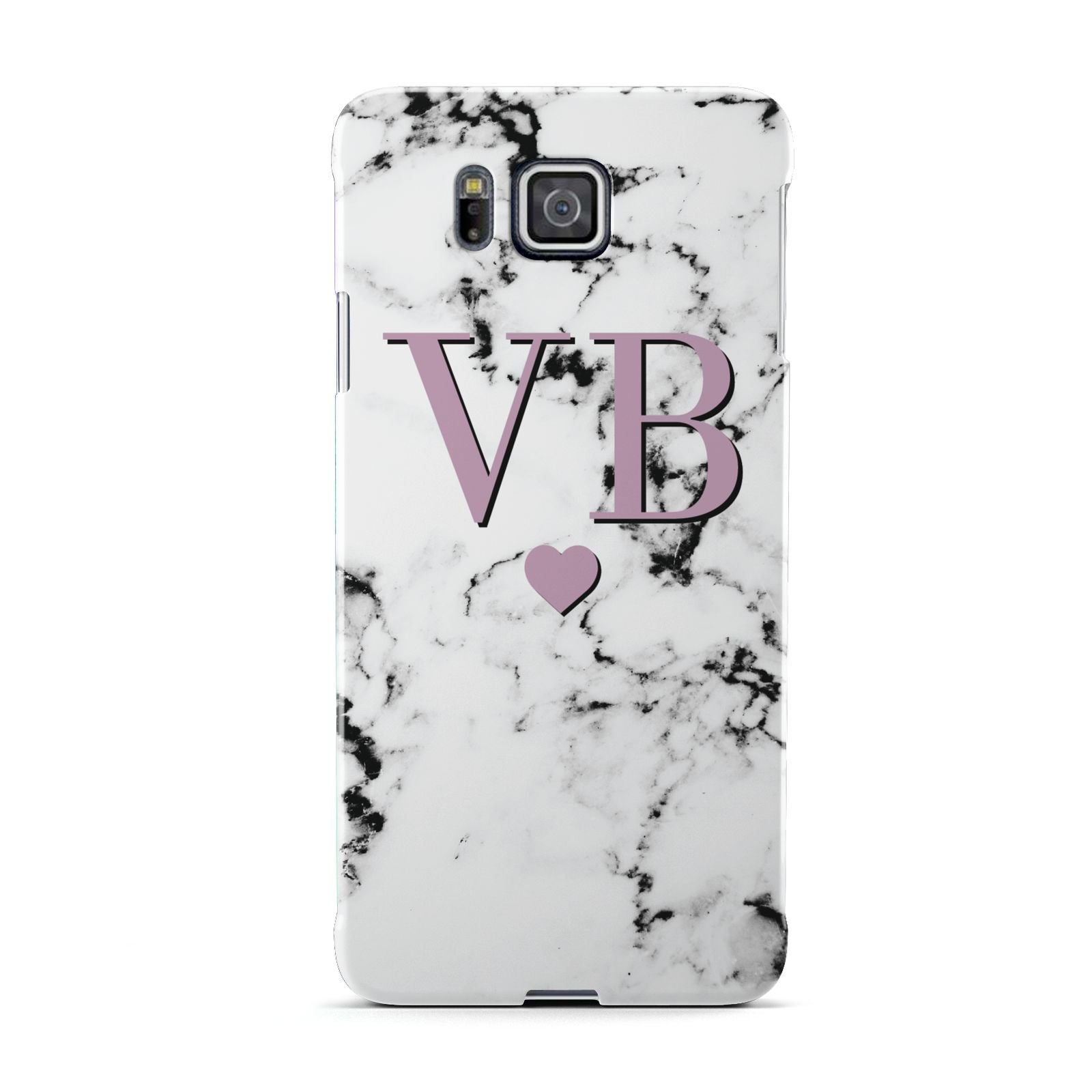 Personalised Purple Initialed Marble Heart Samsung Galaxy Alpha Case