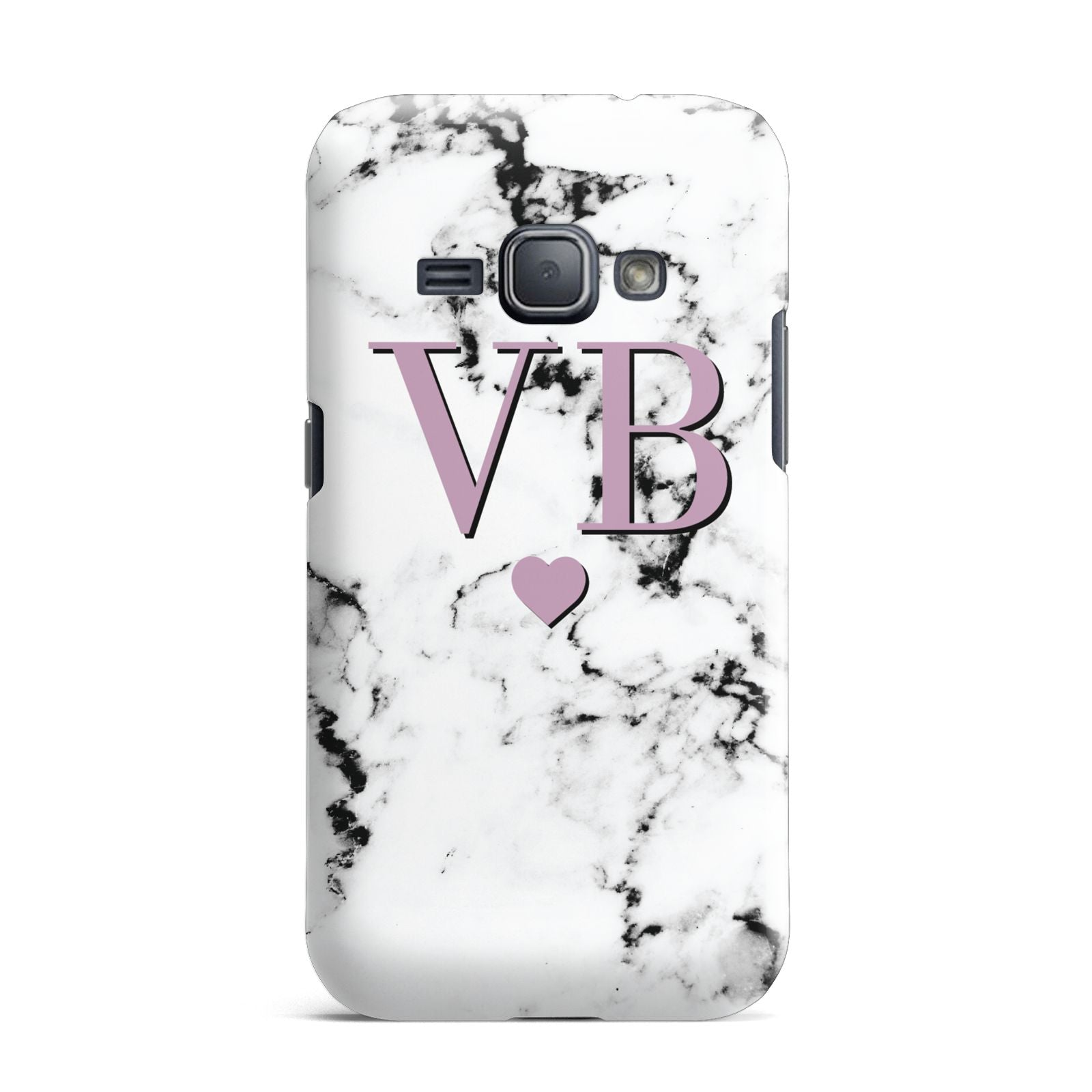 Personalised Purple Initialed Marble Heart Samsung Galaxy J1 2016 Case