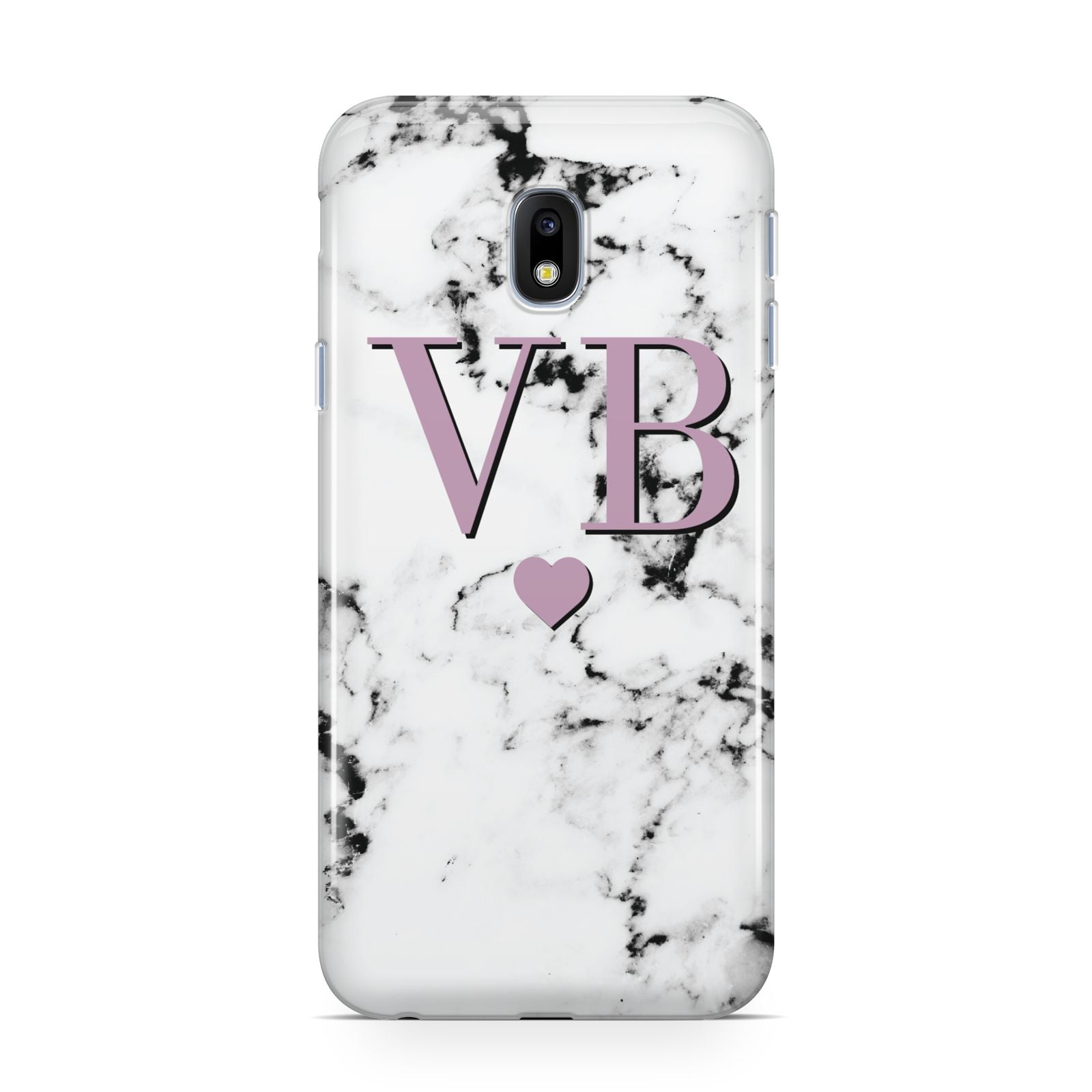 Personalised Purple Initialed Marble Heart Samsung Galaxy J3 2017 Case