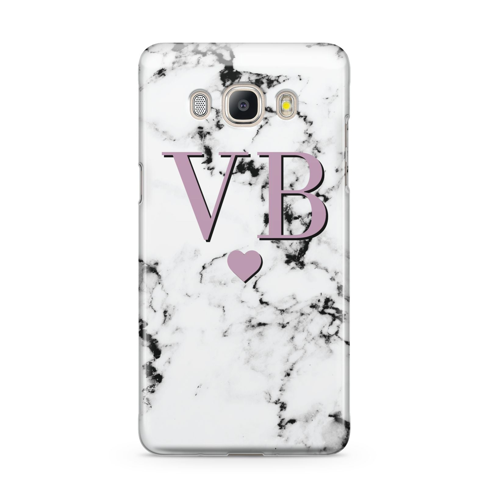 Personalised Purple Initialed Marble Heart Samsung Galaxy J5 2016 Case
