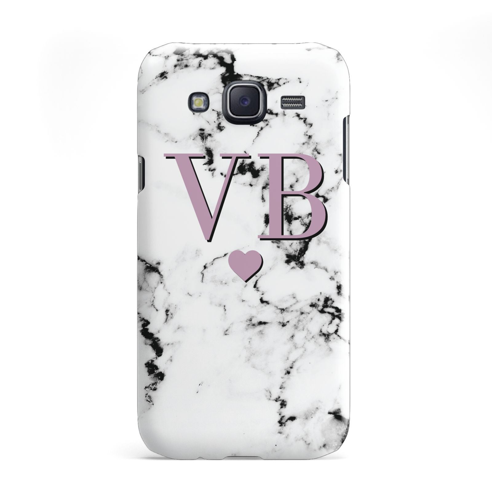 Personalised Purple Initialed Marble Heart Samsung Galaxy J5 Case