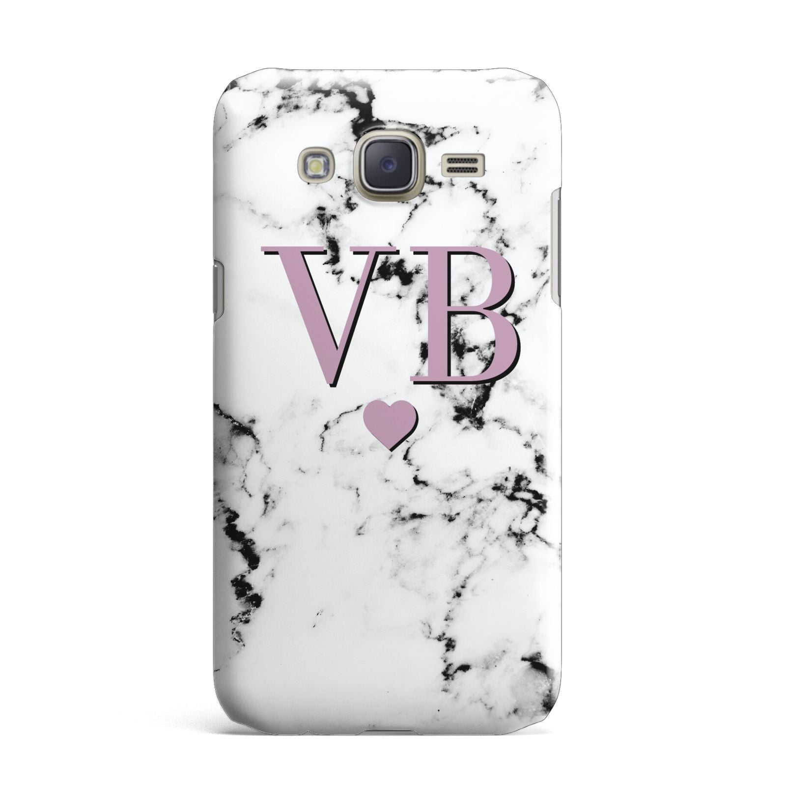 Personalised Purple Initialed Marble Heart Samsung Galaxy J7 Case
