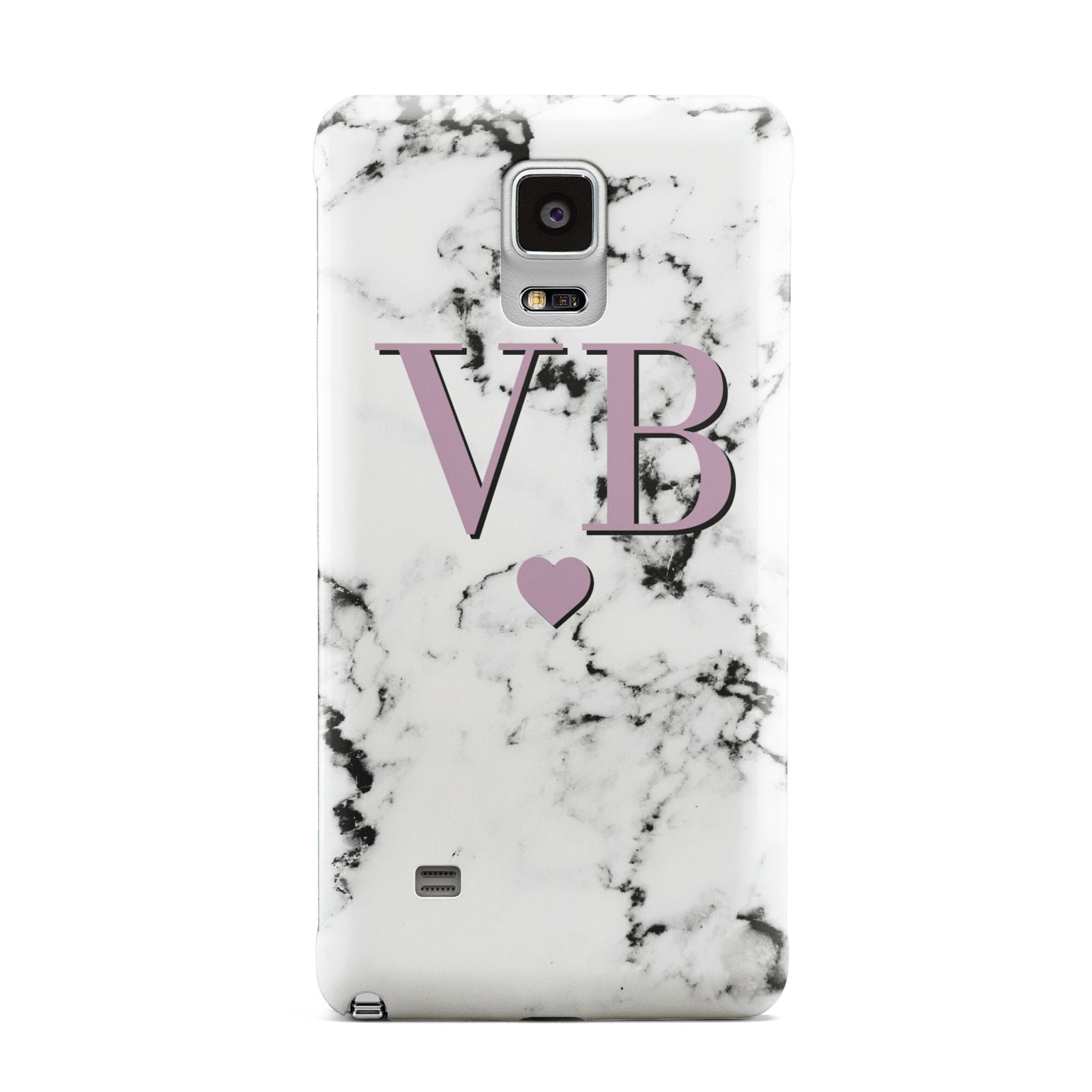 Personalised Purple Initialed Marble Heart Samsung Galaxy Note 4 Case