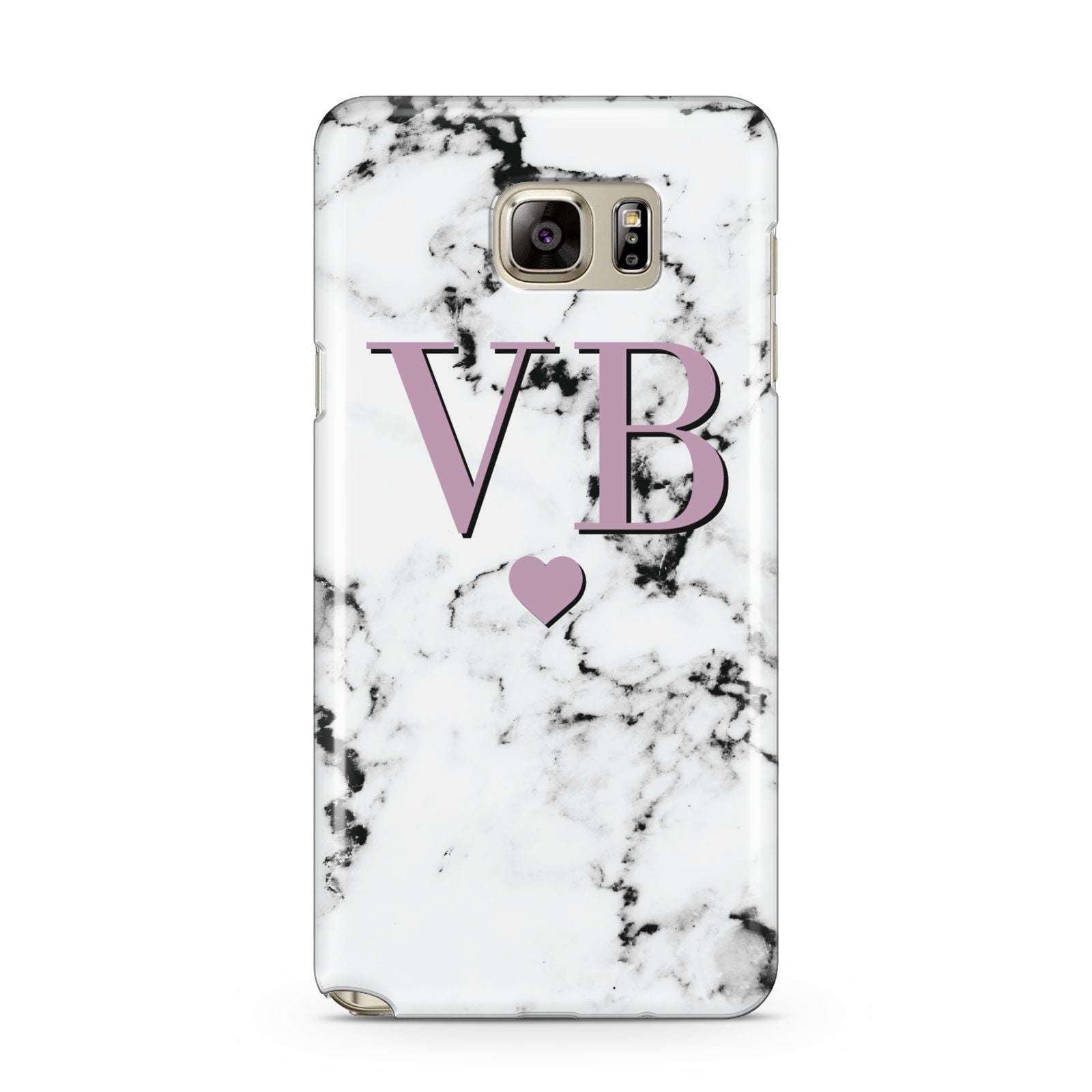 Personalised Purple Initialed Marble Heart Samsung Galaxy Note 5 Case