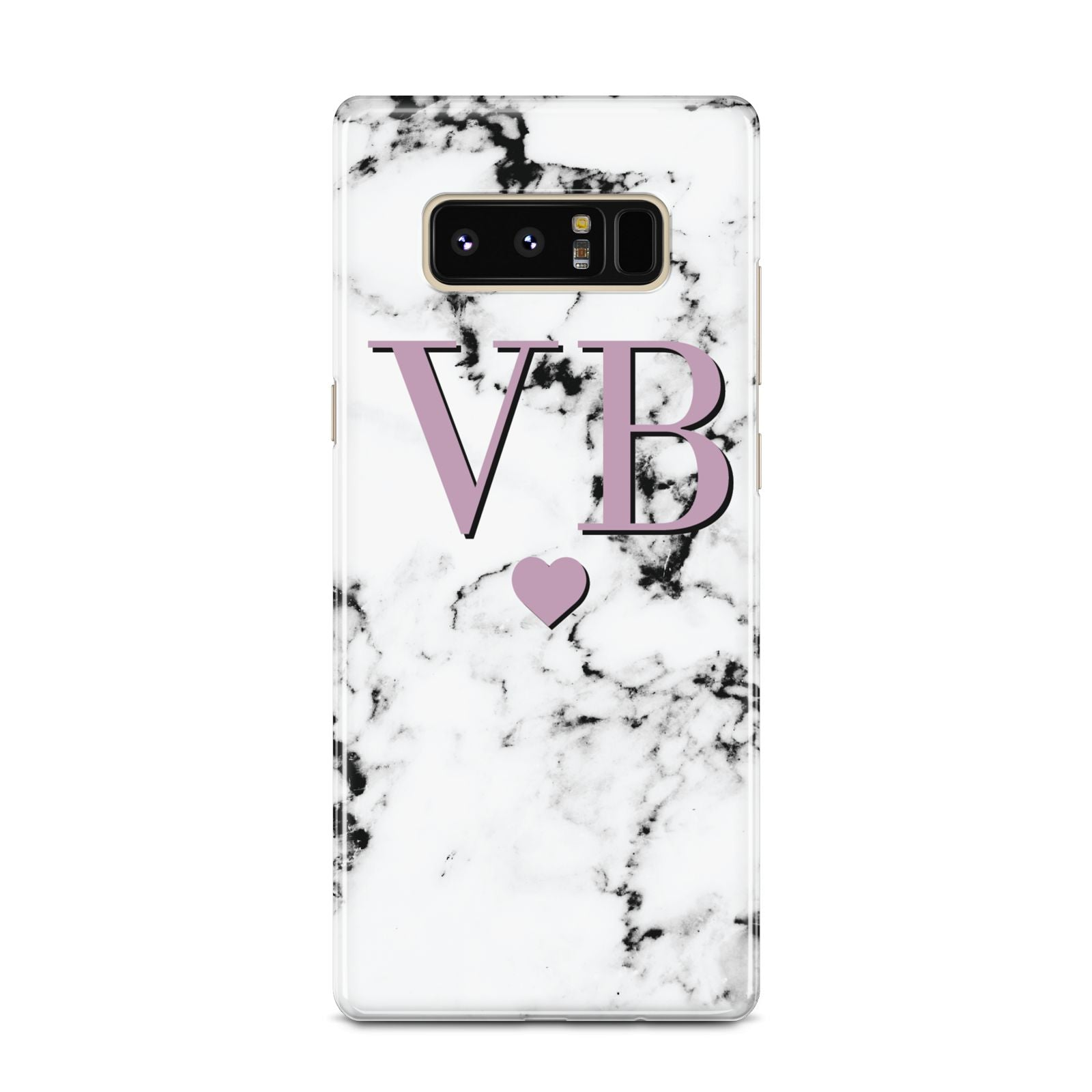 Personalised Purple Initialed Marble Heart Samsung Galaxy Note 8 Case