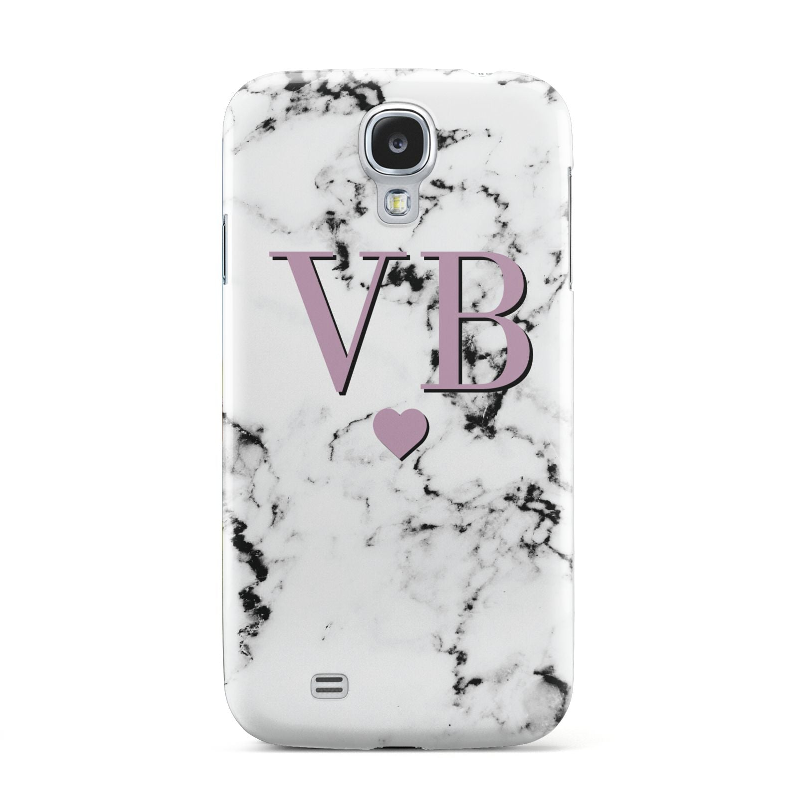Personalised Purple Initialed Marble Heart Samsung Galaxy S4 Case