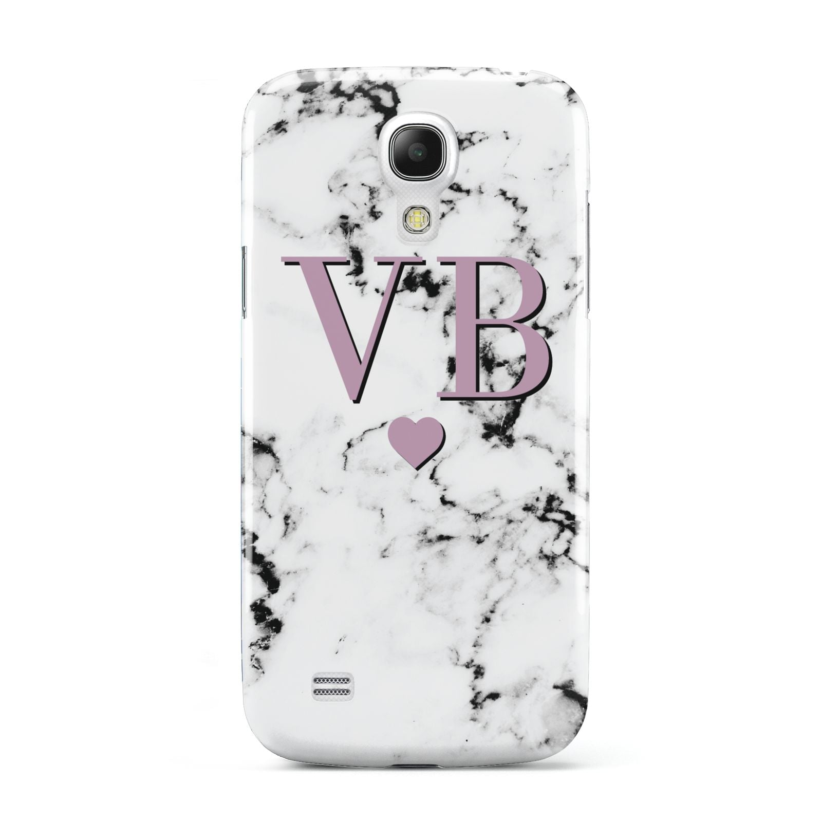 Personalised Purple Initialed Marble Heart Samsung Galaxy S4 Mini Case