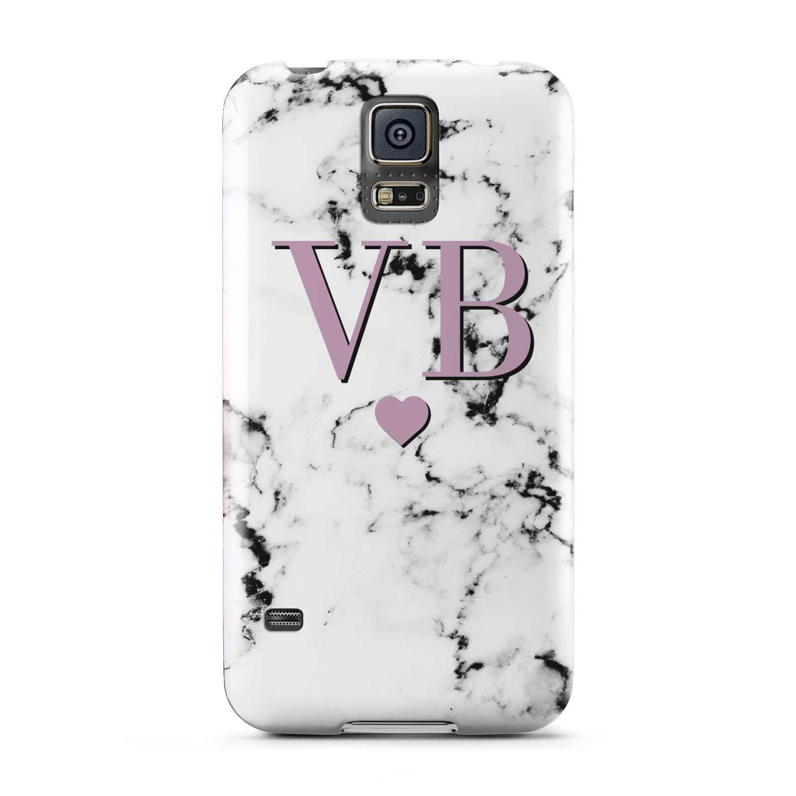 Personalised Purple Initialed Marble Heart Samsung Galaxy S5 Case
