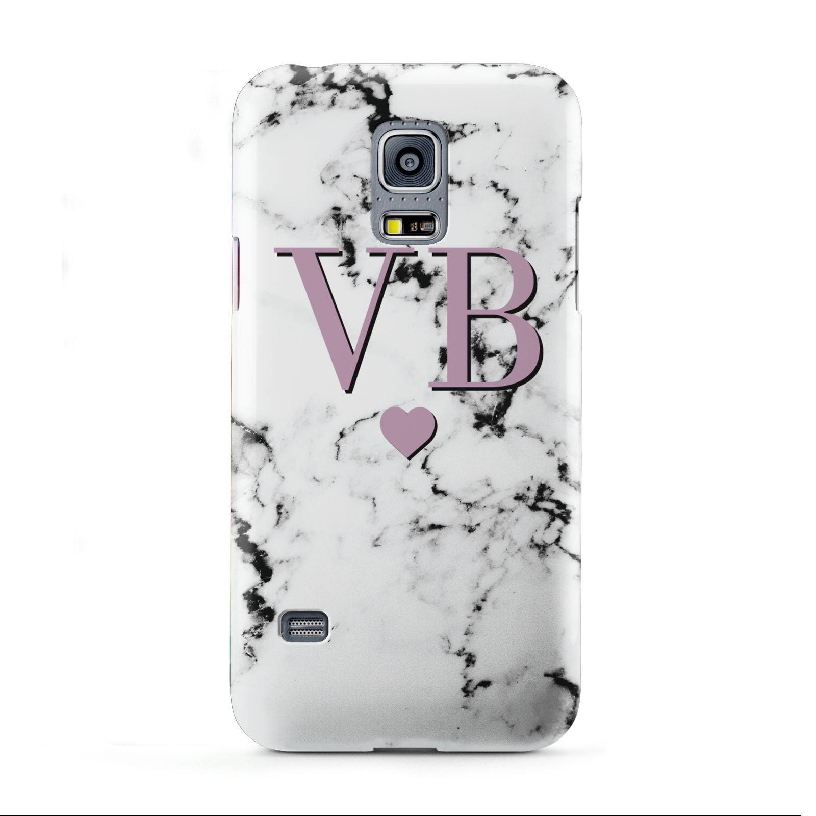 Personalised Purple Initialed Marble Heart Samsung Galaxy S5 Mini Case