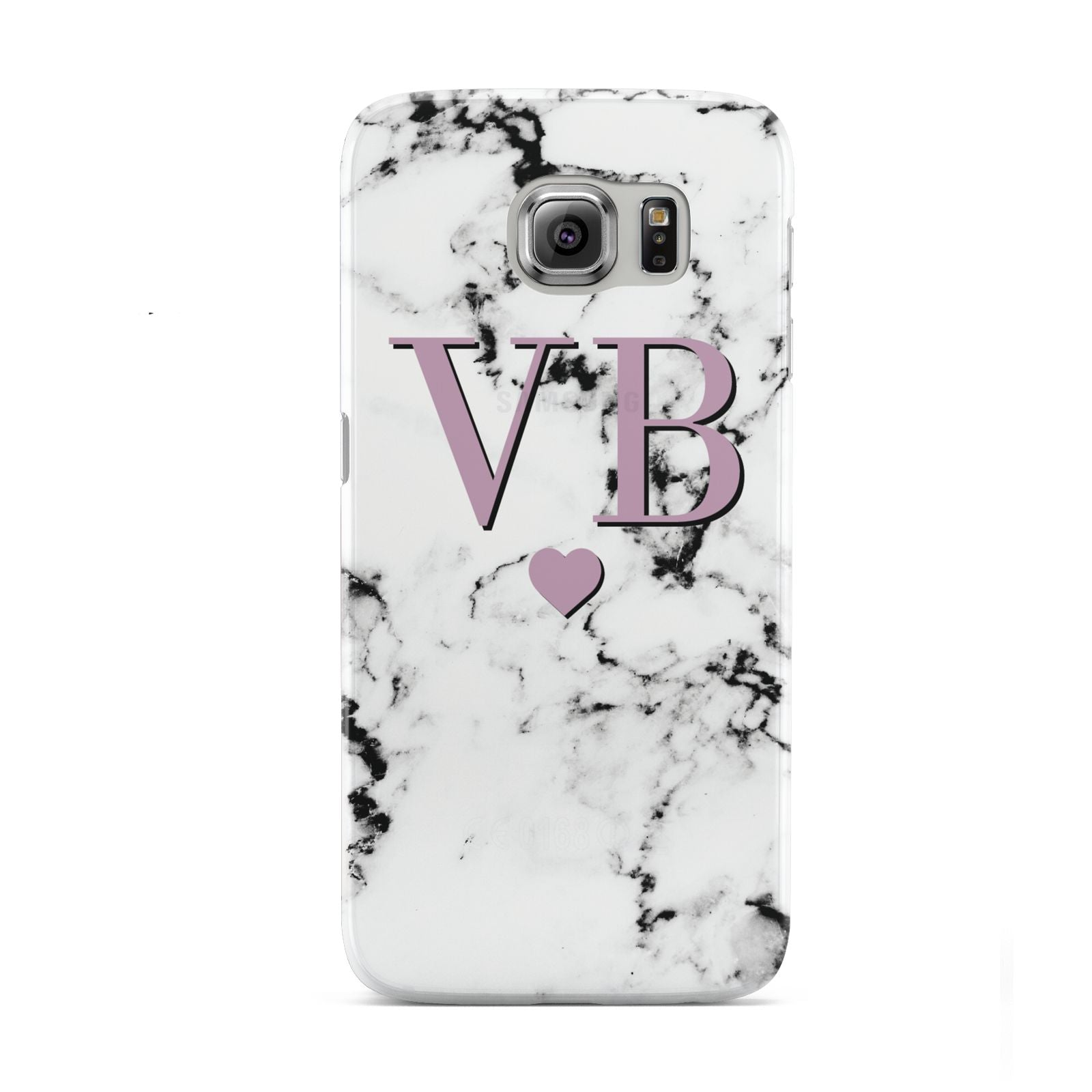 Personalised Purple Initialed Marble Heart Samsung Galaxy S6 Case