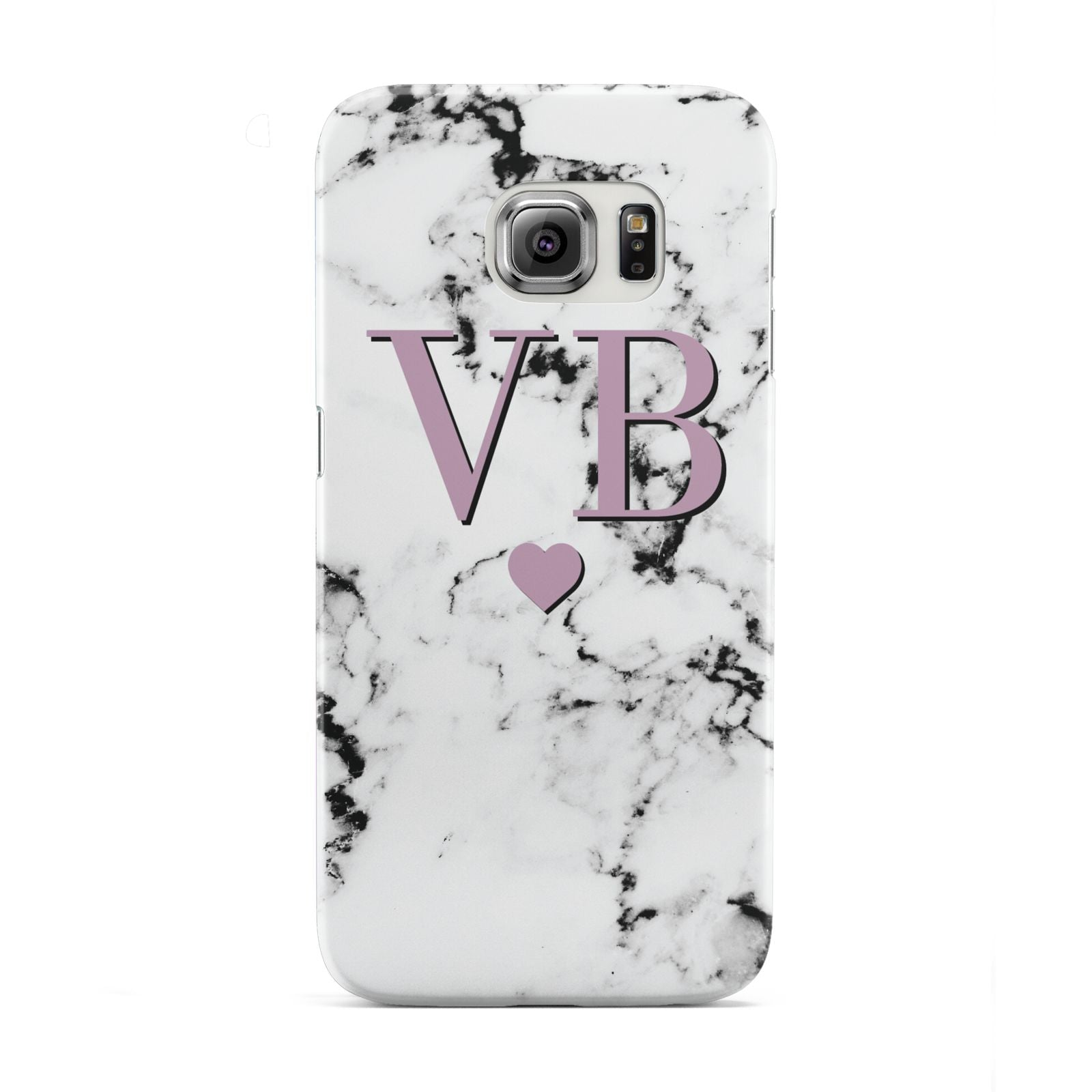 Personalised Purple Initialed Marble Heart Samsung Galaxy S6 Edge Case