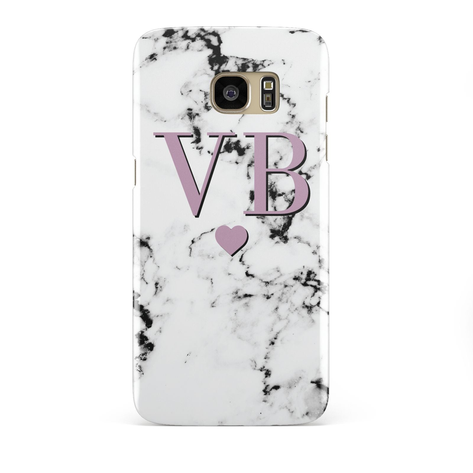 Personalised Purple Initialed Marble Heart Samsung Galaxy S7 Edge Case
