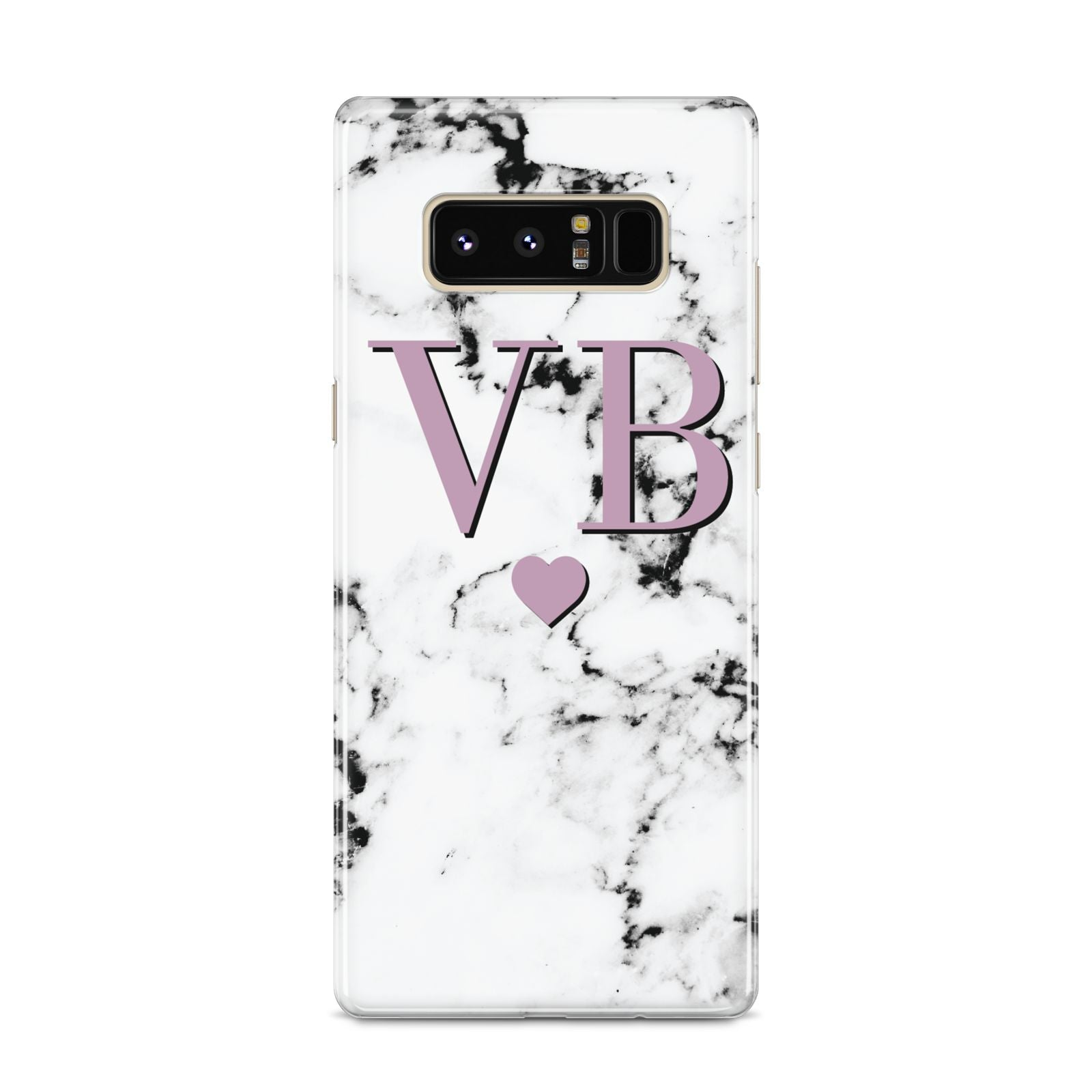 Personalised Purple Initialed Marble Heart Samsung Galaxy S8 Case