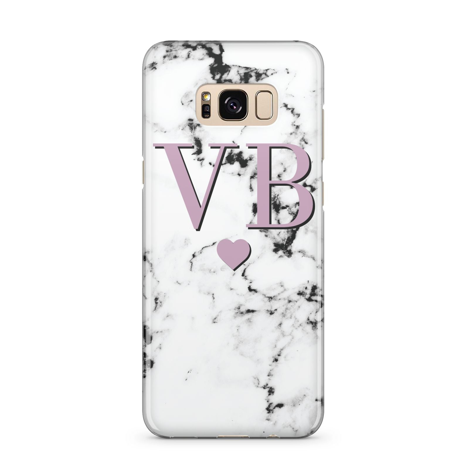 Personalised Purple Initialed Marble Heart Samsung Galaxy S8 Plus Case
