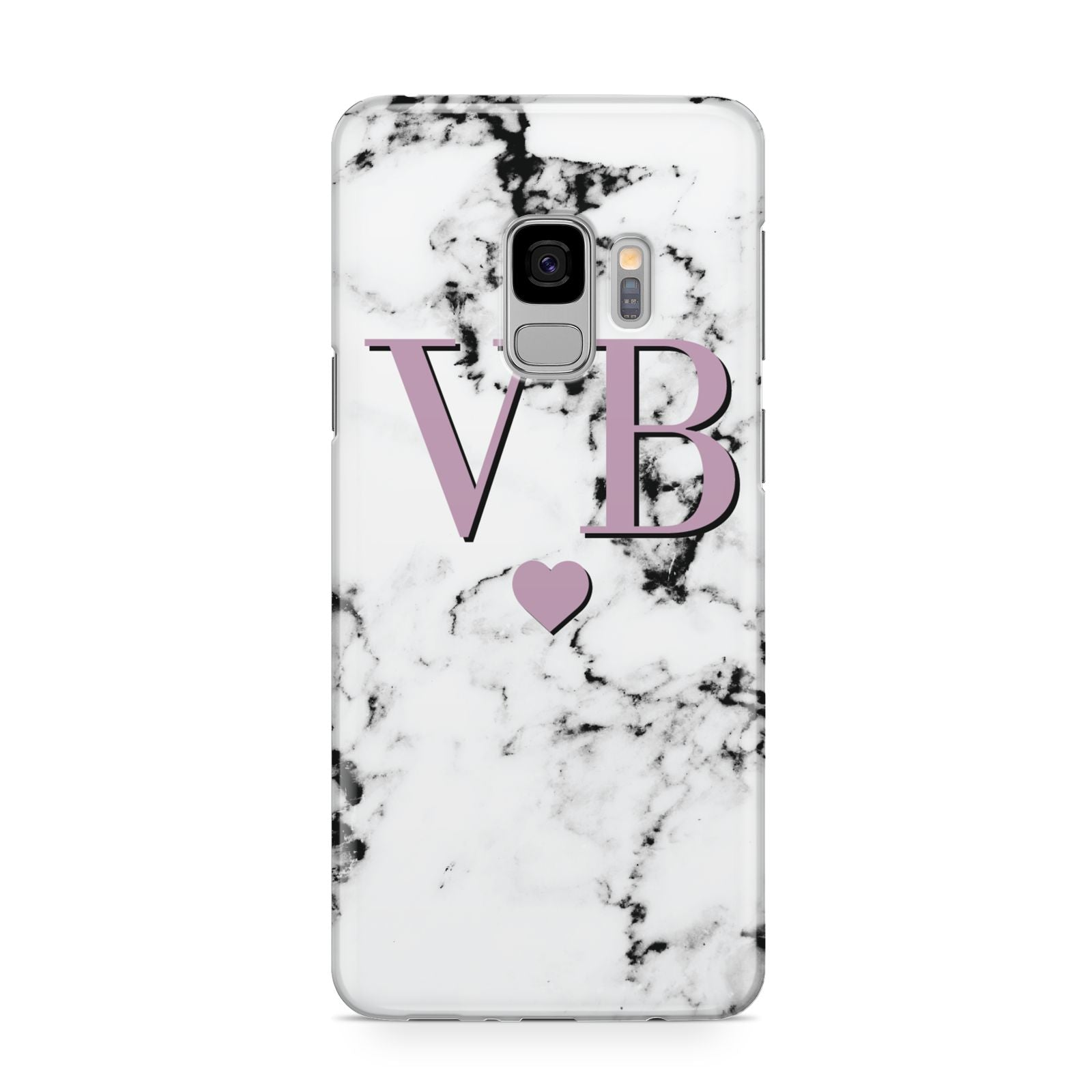Personalised Purple Initialed Marble Heart Samsung Galaxy S9 Case