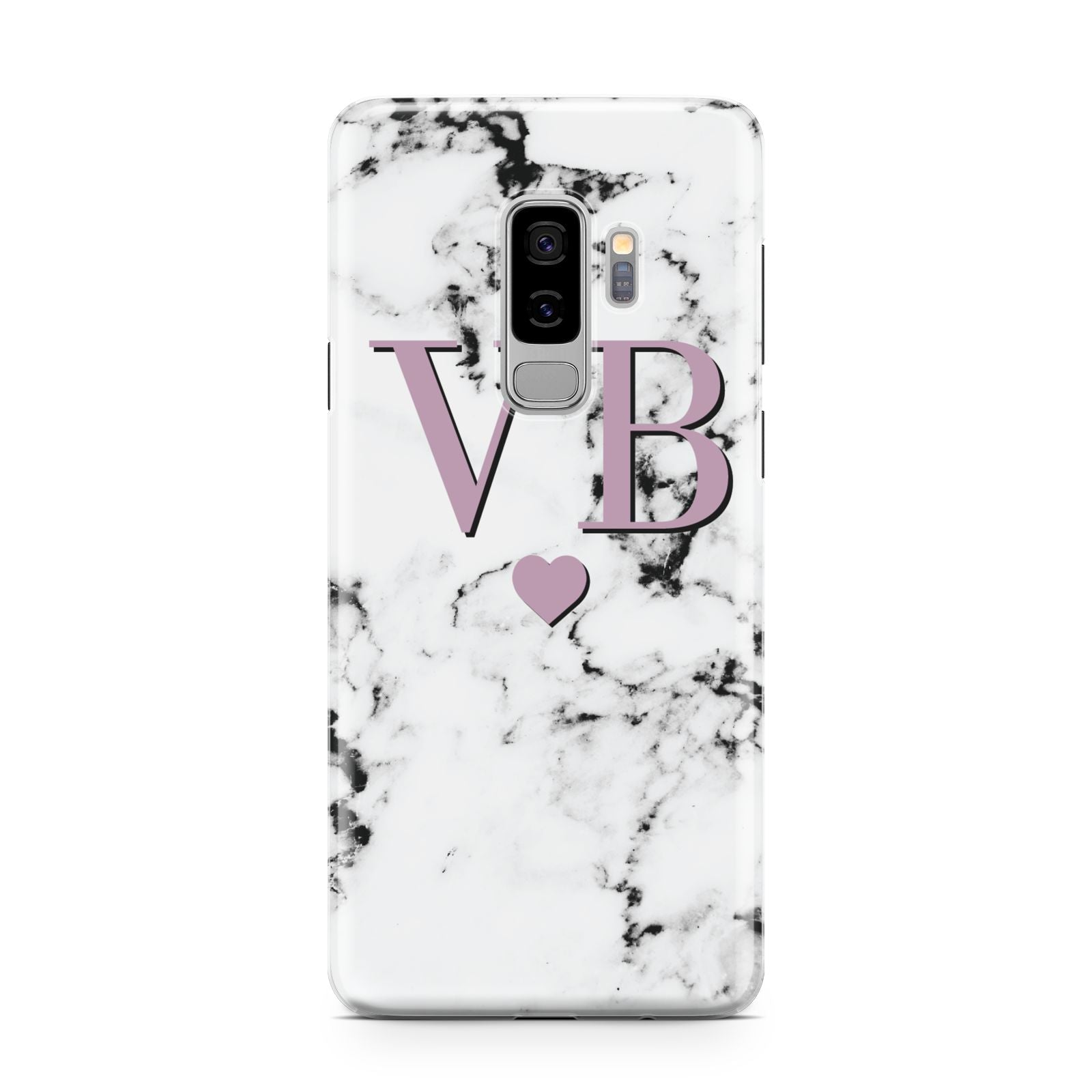 Personalised Purple Initialed Marble Heart Samsung Galaxy S9 Plus Case on Silver phone