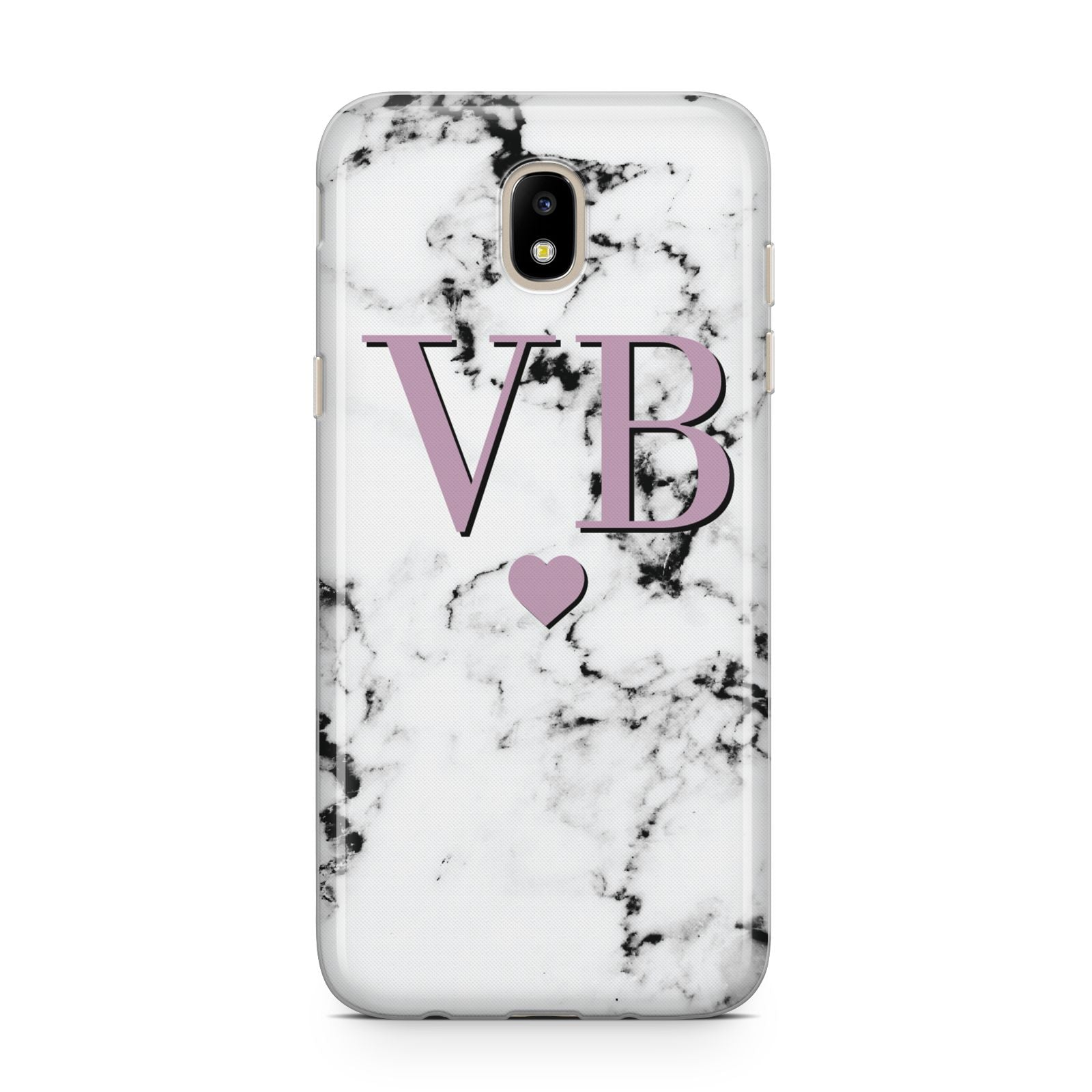 Personalised Purple Initialed Marble Heart Samsung J5 2017 Case