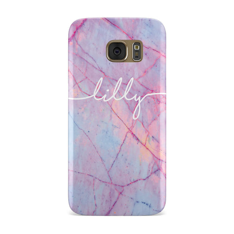 Personalised Purple Marble & Name Samsung Galaxy Case