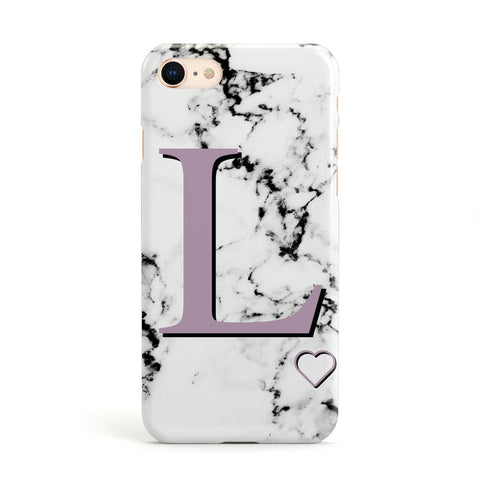 Personalised Purple Monogram Marble Heart Apple iPhone Case