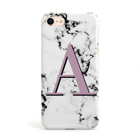 Personalised Purple Single Initial Marble Apple iPhone Case