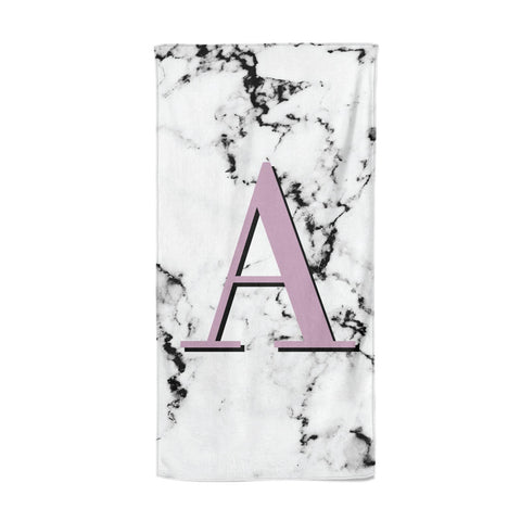 Personalised Purple Single Initial Marble Beach Towel